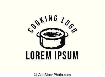 cooking pan, vintage cooking logo