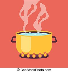 Cooking pan with boiling water vector graphic design illustration