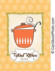 """Cooking pan with message """"natural kitchen"""""""