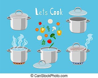 Cooking pans with water