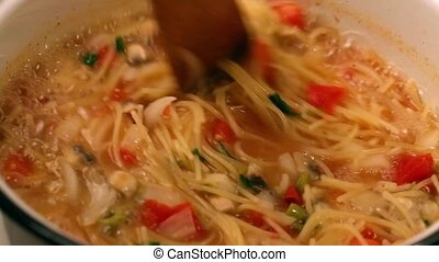 Cooking Pasta Dish - Cooking pasta dish close up