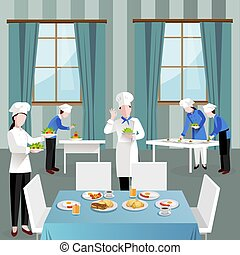 Cooking People In Restaurant Composition