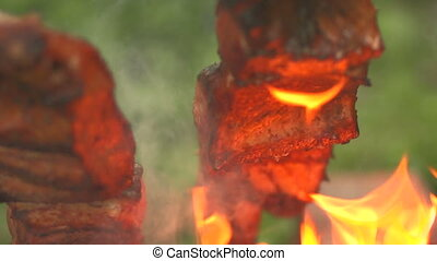 Cooking pieces of fish on an open fire close up