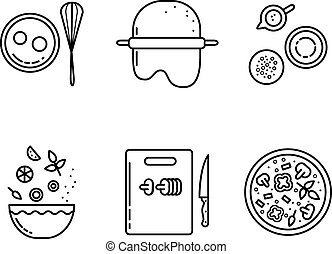 Cooking pizza line icons set