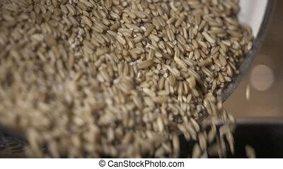 Cooking porridge oats for healthy breakfast