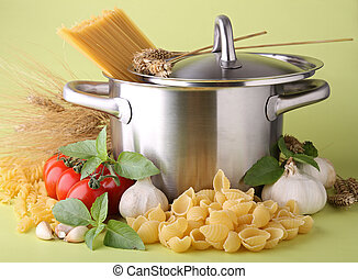 cooking pot and spaghetti