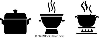 Cooking pot icon on white background
