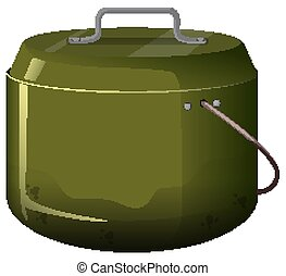 Cooking pot in green color on white background