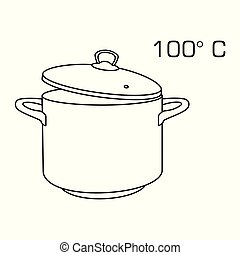 Cooking pot line, outline icon 100 degree celsius. Boiling hot water