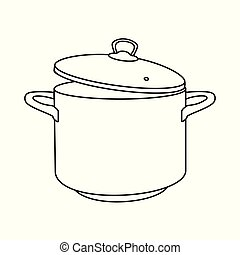 Cooking pot line, outline icon. Boiling hot water