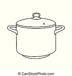 Cooking pot line, outline icon.