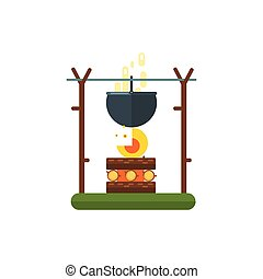 Cooking Pot On Fire Illustration
