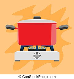 Cooking pot on gas stove. Flat and solid color vector illustration.