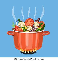 Cooking pot on stove with vegetables,