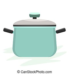 Cooking pot or pan with side view and cover on it. Flat and solid color vector illustration.