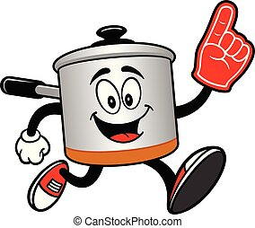 Cooking Pot Running with a Foam Hand - A cartoon ...