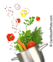 Cooking pot with fresh vegetable ingredients isolated on white