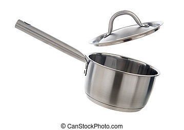Stainless steel cooking pot with lid opened, isolated on white background