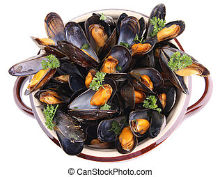 mussels - cooking pot with mussels