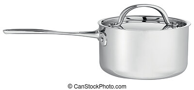 Cooking pot with silver lid isolated on white