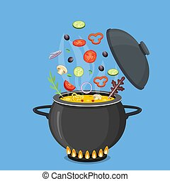 Cooking pot with vegetables and mushrooms.