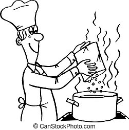 Cooking process - Cook making a meal
