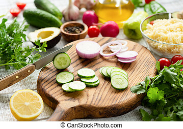 Cooking process. Fresh vegetables on cutting board