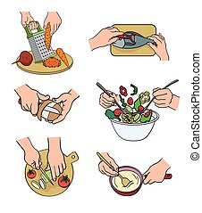 cooking process. natural products. set of color illustration