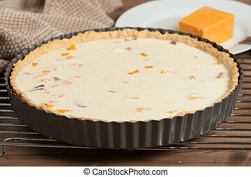 Cooking Process Of Quiche Lorraine With Red Leicester...