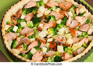 Cooking Process Of Salmon Quiche With Broccoli. Traditional...