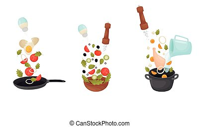 Cooking Process with Making Omelette and Soup Vector Set