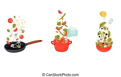 Cooking Process with Making Pasta and Soup Vector Set