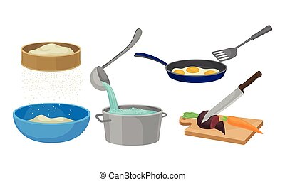 Cooking Process with Sifting Flour, Chopping Vegetables and Frying Scrambled Eggs Vector Set
