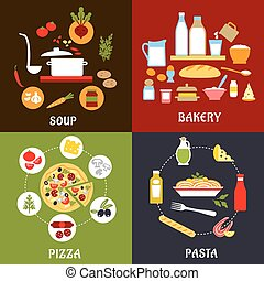 Cooking process of pizza, pasta, soup and bakery with healthy fresh ingredients, vegetables, cheese, fish, sausage, dairy products, sauces and olive oil