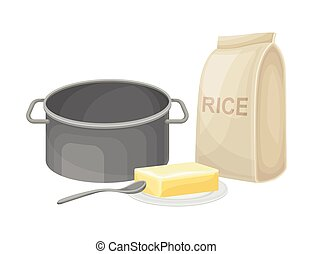 Cooking Rice Process with Butter and Rice Package Vector Illustration