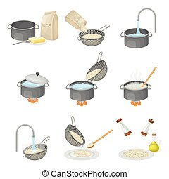 Cooking Rice Process with Head Rice Washing and Poaching on Burner Vector Set