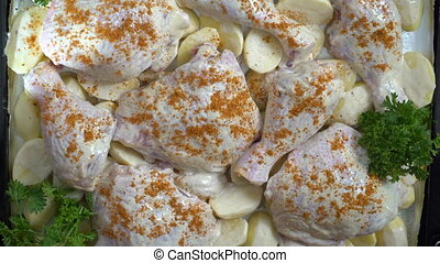 Cooking roasted chicken legs with potatoes baked in the oven...