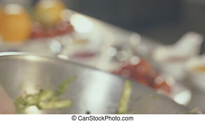 Cooking salad with seafood, close up