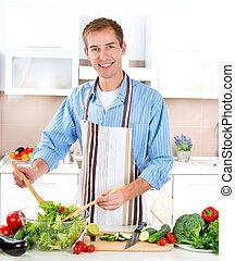 cooking., salada, saudável, -, jovem, alimento, vegetal, homem