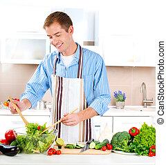 cooking., salada, saudável, jovem, alimento., vegetal, homem