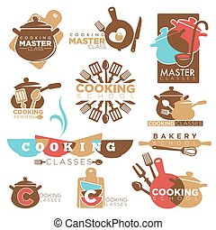Cooking school master class bakery chef vector isolated ...