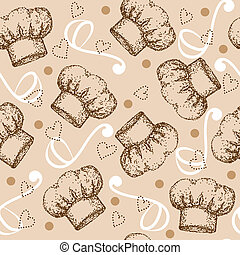 Cooking seamless pattern with chef hat