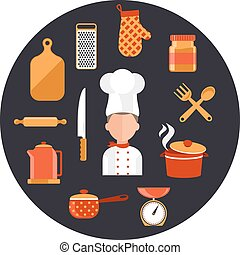 Cooking serve meals and food preparation elements - Flat...