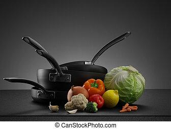 cooking set on grey