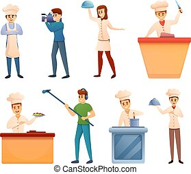Cooking show icons set, cartoon style