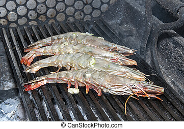 shrimp - cooking shrimp on the grill
