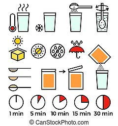 cooking sign instruction for manual on packing, flat design with thin line icon