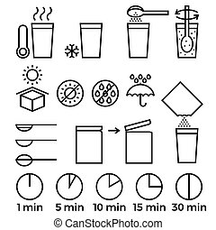 cooking sign instruction for manual on packing, outline icon