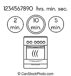 Cooking signs, for manuals on packing. Preparing oven instruction icons set.