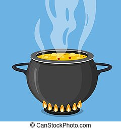 Cooking soup in pan. Pot on stove with steam